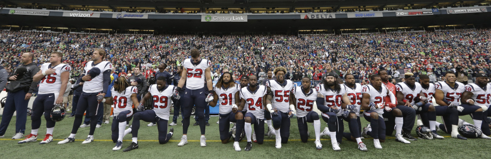 All but 10 Houston Texans players took a knee during the national anthem after owner Bob McNair said,
