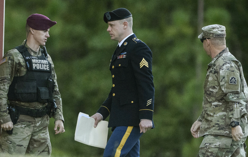 "Sgt. Bowe Bergdahl arrives at court on Monday. ""It was never my intention for anyone to be hurt,"" he said of those who searched for him after he walked off his post."