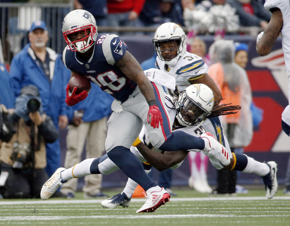 Patriots running back James White caught five passes for 85 yards as New England relied heavily on its running backs in the passing game against the Chargers' defense.