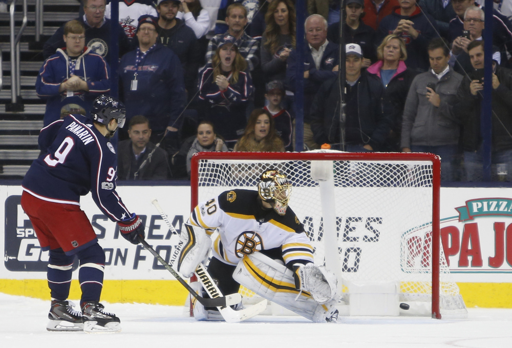 Columbus' Artemi Panarin scores against Tuukka Rask in the shootout to give the Blue Jackets the win.