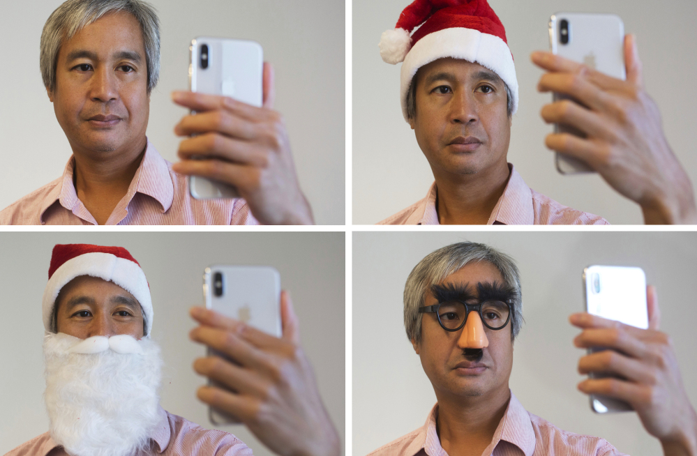 Face ID, Apple's name for facial-recognition technology on the new iPhone X, recognizes its owner in the top photos, but not in the bottom ones. With no front screen buttons, it just hears you call out to Siri for information. Associated Press/Mark Lennihan