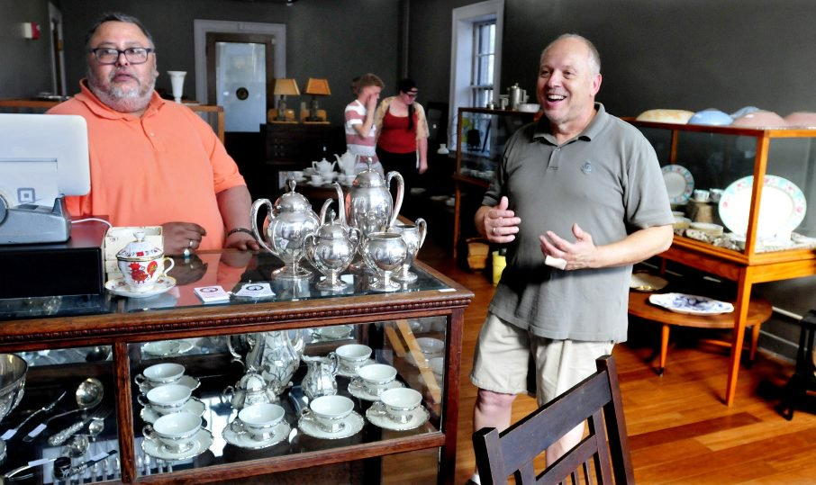 Lunanightday Antiques & Art store co-owners Mike Hildago, left, and Ed West opened their business on Appleton Street in Waterville at the beginning of September.