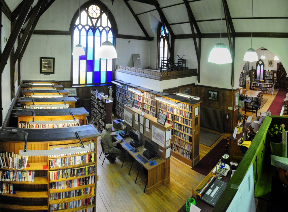 An interior view Tuesday at Hubbard Free Library in Hallowell.