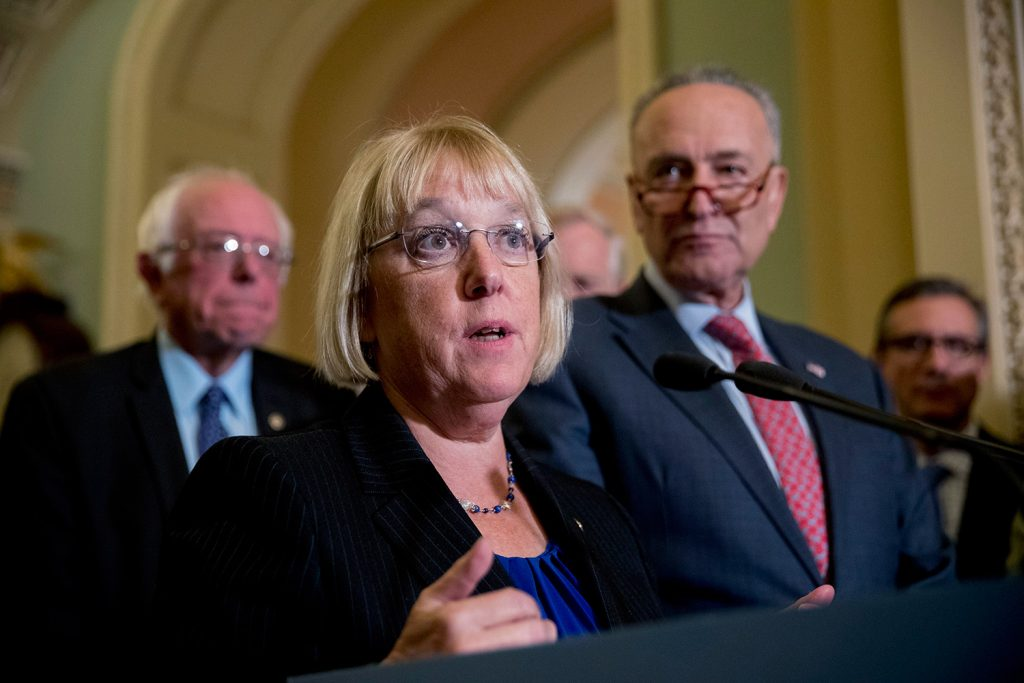 "Sen. Patty Murray, D-Wash., accompanied by Sen. Bernie Sanders, I-Vt., left, and Senate Minority Leader Sen. Chuck Schumer, told reporters, ""when Republicans and Democrats take the time ... we can truly get things done."""