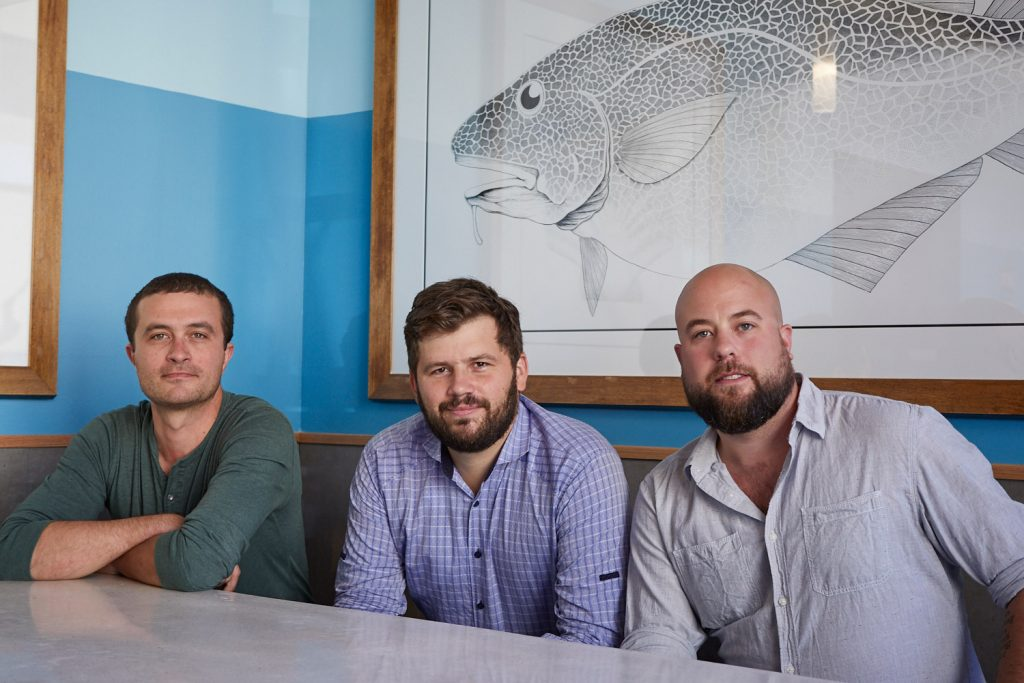 Mike Wiley, Andrew Taylor and Arlin Smith, owners of Eventide Fenway.