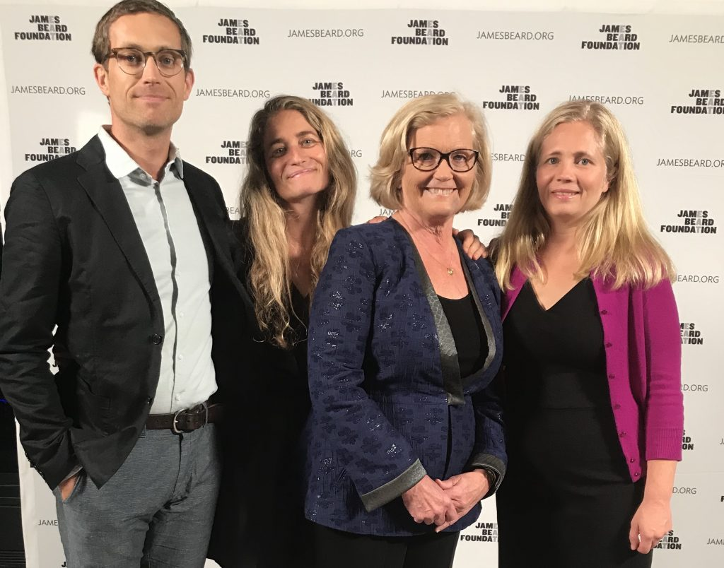 Rep. Chellie Pingree poses at the James Beard Foundation's food summit Monday night with, from left, her son, Asa, her daughter Cecily and her daughter Hannah. Chellie Pingree was honored as a longtime farmer and organic-food advocate.
