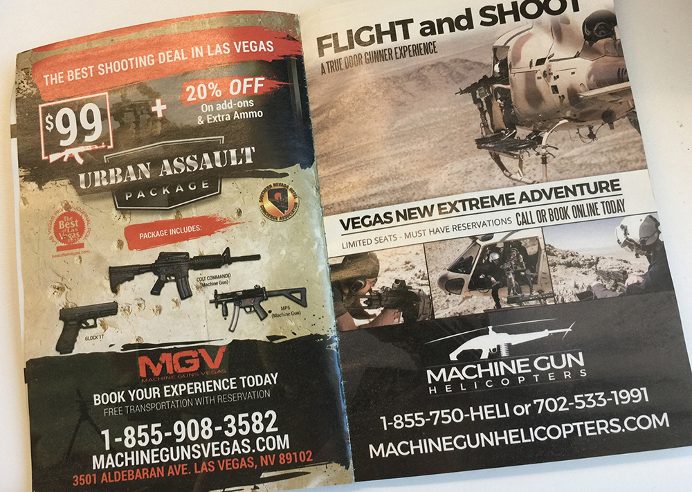 Ads for gun ranges targeting visitors in Las Vegas.
