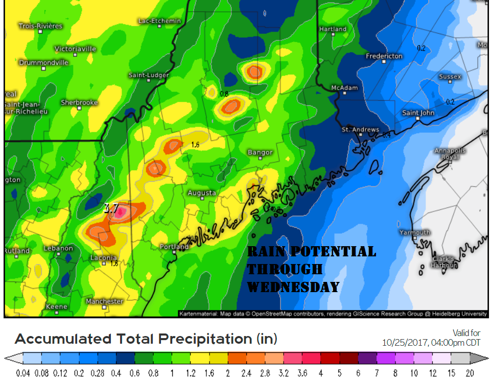 1-2 inches of rain is likely through Wednesday evening with potentially more in thunderstorms.