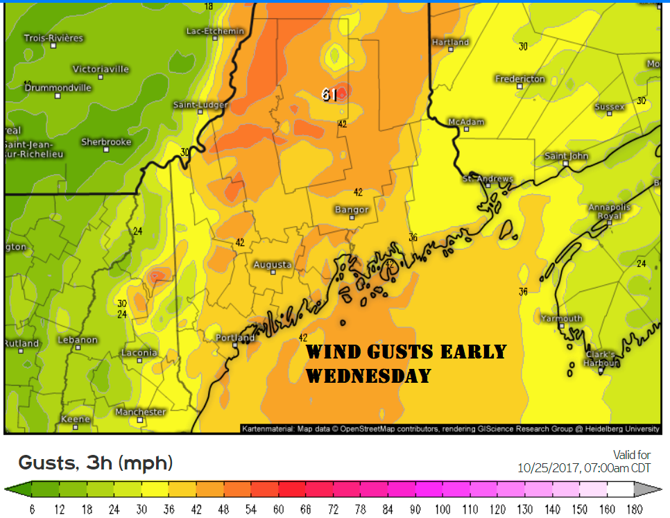 Winds could gusts up to 50 miles per hour across the higher elevations the coast.