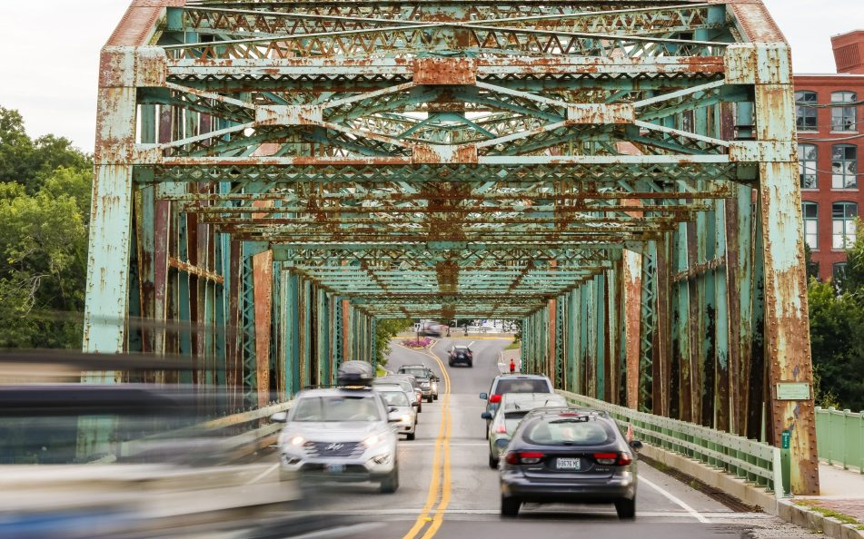 Continuing structural problems on the Brunswick-Topsham bridge, above, have led officials to lower the load limit to 25 tons. Maine earned a C- for its bridges and a D for its roads from a national civil engineering group.