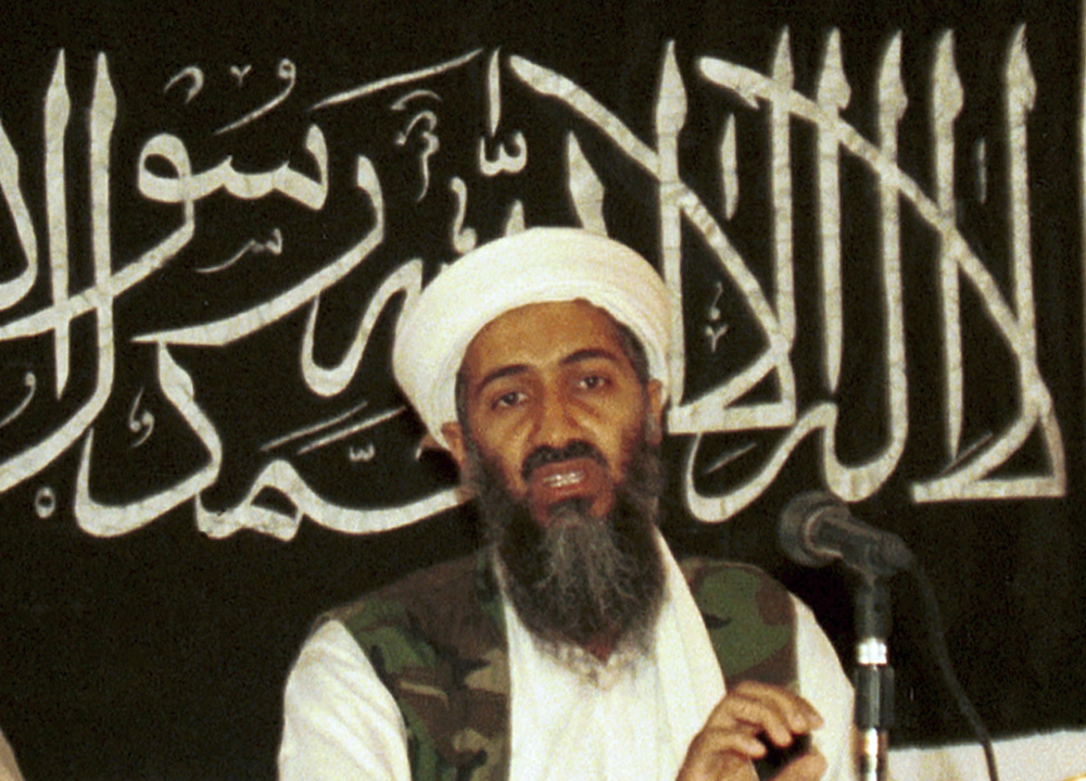 In this 1998 file photo made available on March 19, 2004, Osama bin Laden appears at a news conference in Khost, Afghanistan.
