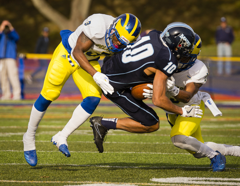 college football delaware rallies past maine 3117