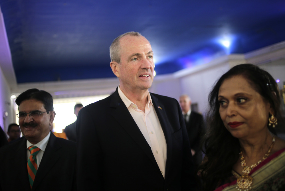 Democratic gubernatorial candidate Phil Murphy arrives to a campaign event in Edison, N.J., on Monday. He was elected New Jersey's next governor Tuesday.