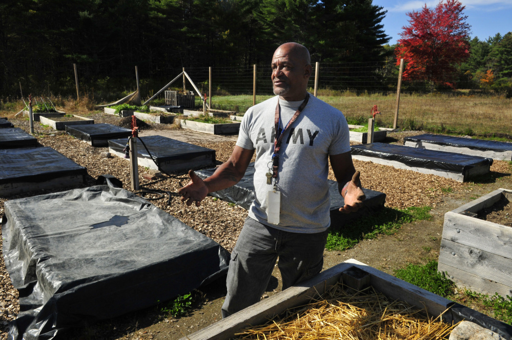 Harold Massey works in the garden at the VA Maine Healthcare System-Togus campus in October. Massey is himself a veteran, having served in the Army from 1979 to 1982.