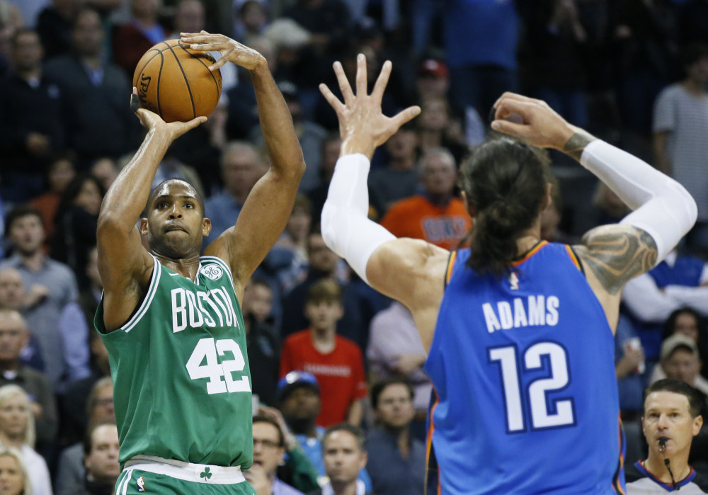 One measure of the new Al Horford: He's shooting 48.7 percent on 3-point attempts this season.