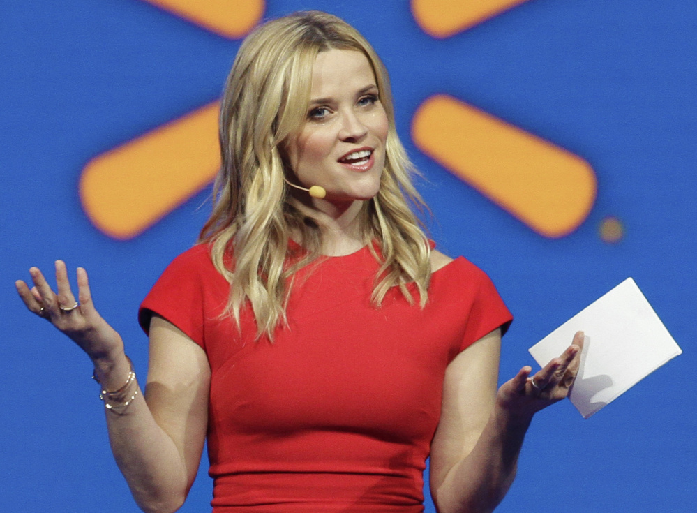 Actress Reese Witherspoon speaks at the Wal-Mart shareholder meeting in Fayetteville, Ark., Friday, June 5, 2015. (AP Photo/Danny Johnston)