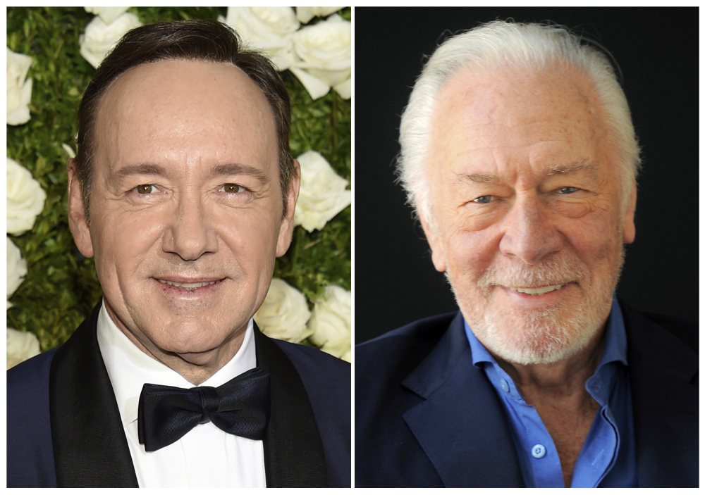 This combination photo shows Kevin Spacey at the Tony Awards in New York on June 11, 2017, left, and  Christopher Plummer during a portrait session in Beverly Hills, Calif. on July 25, 2013. Spacey is getting cut out of Ridley Scott's finished film