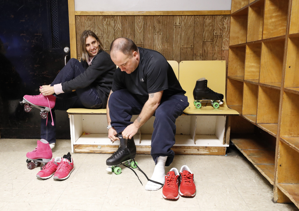 Anthony and Michelle Sanborn lace up their skates Thursday at Rollodrome in Auburn, a day after a deal in his post-conviction review released him from the rest of his 70-year sentence. He said,