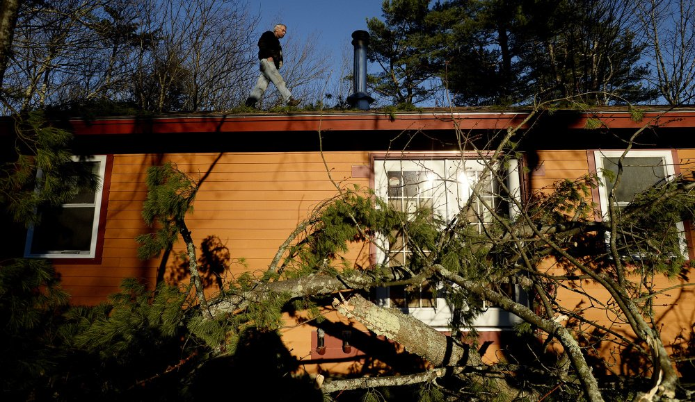 Ron Bozzuto inspects the roof of his Westbrook home after high winds knocked down a tree Friday. The tree landed just in front of his home but did bring down the power lines.