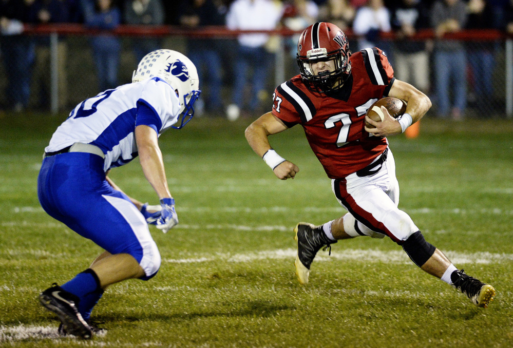 Chad Fitzpatrick – one of the few returning players for Wells – was hard to bring down in the first game against Madison/Carrabec this year, and hopes to be elusive again Saturday.