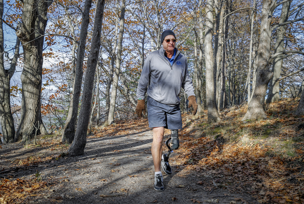 "John LeMieux, president of the Amputee Association of Maine, visits Mackworth Island in Falmouth last week. ""It sounds like other states have attacked (access) in a much more direct way than Maine has,"" says the 58-year-old, who lost his left leg to cancer in 2012. One suggestion: A Maine state universal outdoor access website. ""How sweet would that be?"""