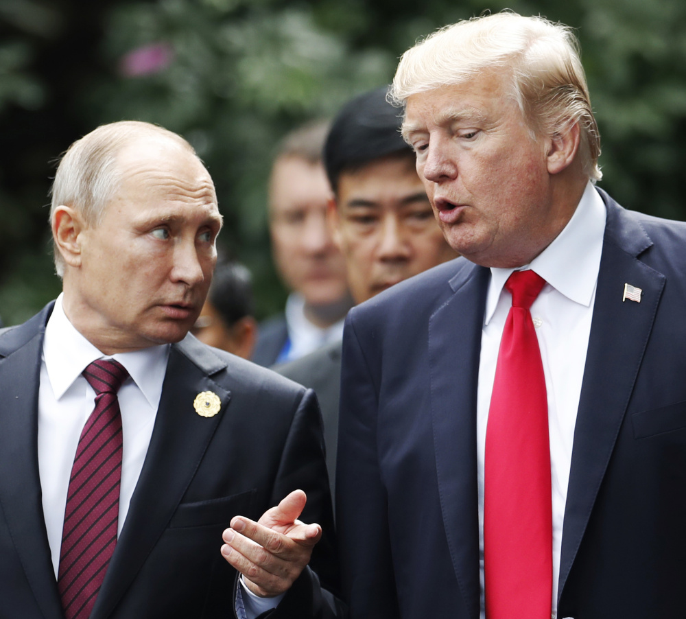 In trying to clarify his earlier remarks on Russia, President Trump said Sunday he believes that Russia President Vladimir Putin believes Russia didn't meddle in U.S. elections.