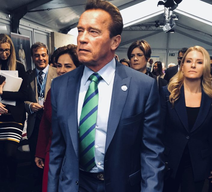 Arnold Schwarzenegger arrives at a climate conference Sunday in Bonn, Germany.