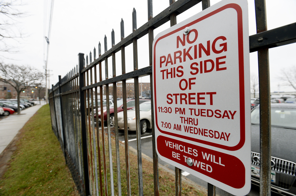 """One of several signs on Commercial Street in Portland has Tuesday misspelled as """"Tuedsay."""""""