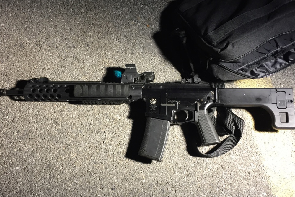 This is one of the weapons used in a shooting in Cheektowaga, N.Y., on Wednesday. A man armed with two semi-automatic rifles opened fire on a suburban Buffalo retail store, wounding one man before being tackled by police.