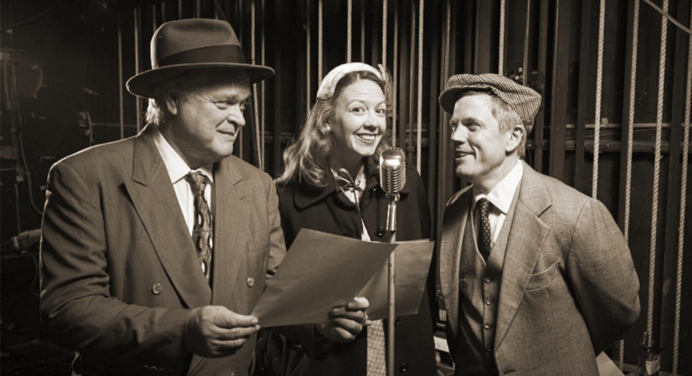 "Daniel Noel, left, Emma O'Donnell and Dustin Tucker rehearse ""It's a Wonderful Life"" at Portland Stage Company."