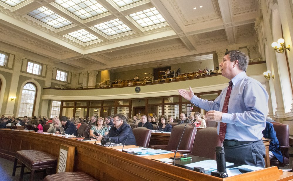 House Minority Leader Ken Fredette, R-Newport, speaks in June at the State House. Fredette, who is running for governor as a privately financed candidate, says the Legislature should set aside enough money to cover all six clean elections candidates.