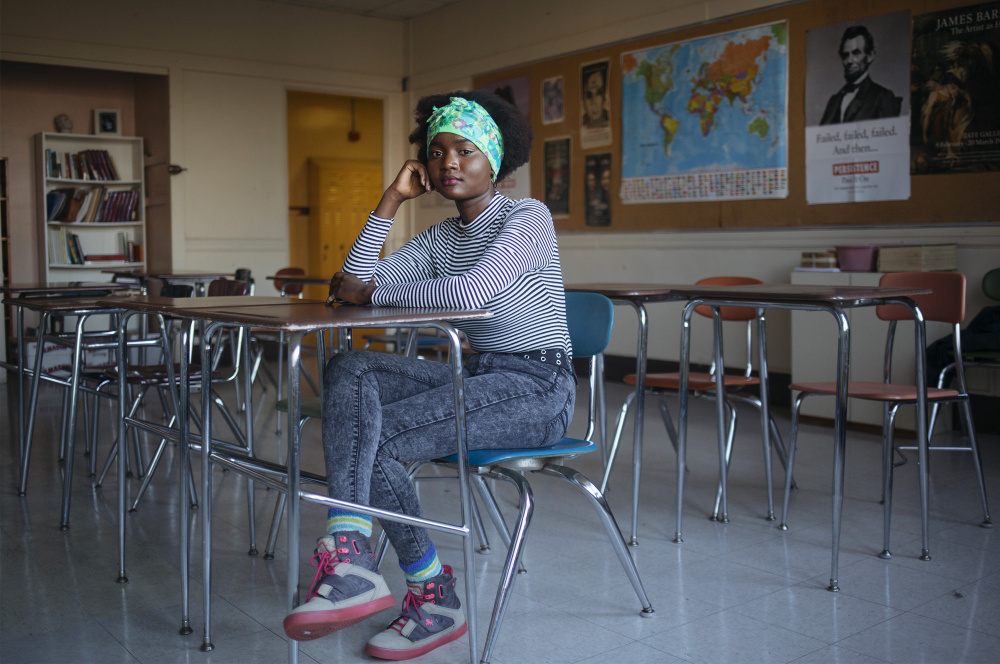 Brenda Viola, 17, a senior at Deering High School in Portland, came to the United States from a refugee camp in Kenya when she was 12 and now volunteers to help new immigrant students acclimate.