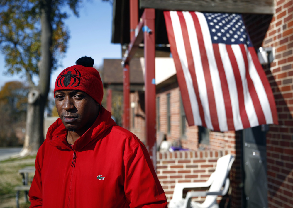 Sabein Burgess outside his mother's home in Baltimore, Wednesday. Burgess says the grinding years in prison as an innocent man have taken its toll.