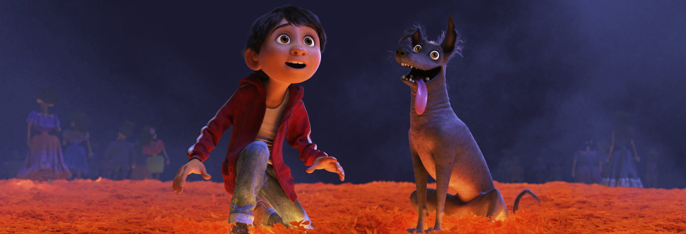 "Miguel, voiced by Anthony Gonzalez, and Dante in a scene from ""Coco."""
