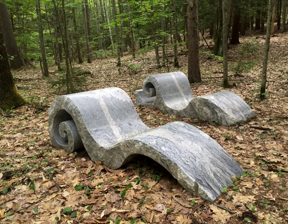 """Fiddlehead Chaise"" and ""Chaising Waves lll"" by Jordan Smith, granite."