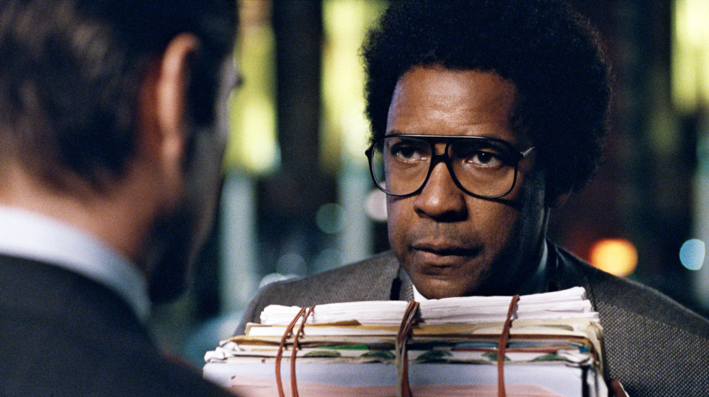 "Denzel Washington as an idealistic attorney in ""Roman J. Israel, Esq."" Colin Farrell and Carmen Ejogo co-star in the film, now showing locally."