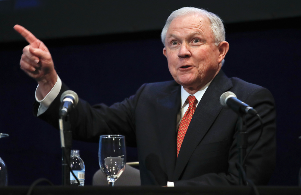 Attorney General Jeff Sessions reacts to the audience as he arrives to speak at the Federalist Society 2017 National Lawyers Convention in Washington last week.
