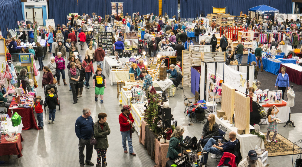 Over 90 vendors displayed their wares at the Maine Made Crafts show Sunday at the Augusta Civic Center. The two-day show attracted shoppers from throughout the region who were looking for Christmas decorations and holiday gifts.