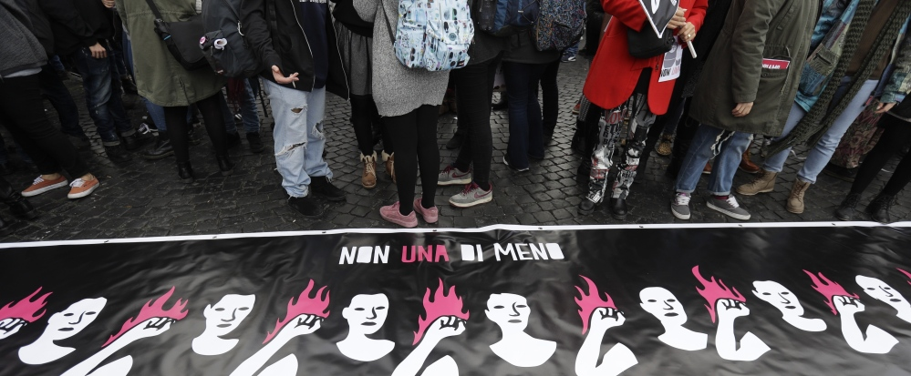 Women in Rome gather for International Day for the Elimination of Violence against Women, proving that this problem respects no borders.
