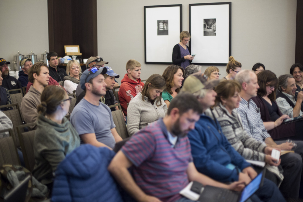 "People who filled the meeting room Wednesday listen as regulators debate whether to continue a moratorium on shrimp fishing in the Gulf of Maine in 2018. Scientists said the survival of younger shrimp has been ""low to extremely poor"" for seven straight years."