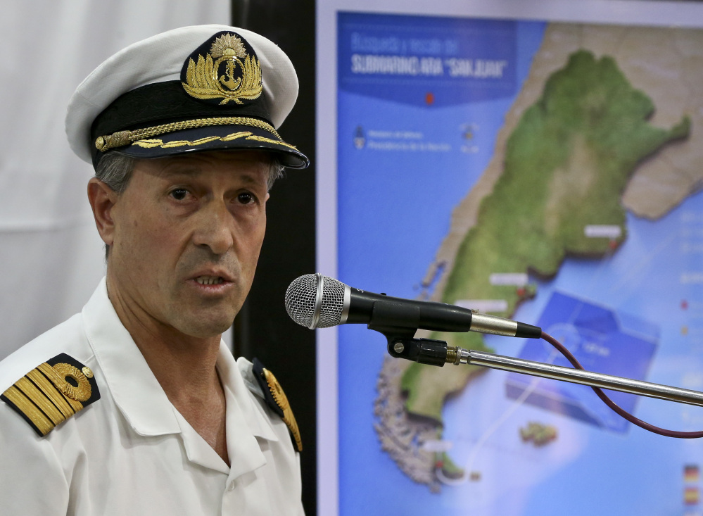 "Argentina Navy spokesman Enrique Balbi said Thursday the rescue mission has ""extended far more than twice what is estimated for a rescue."" Associated Press Esteban Felix"