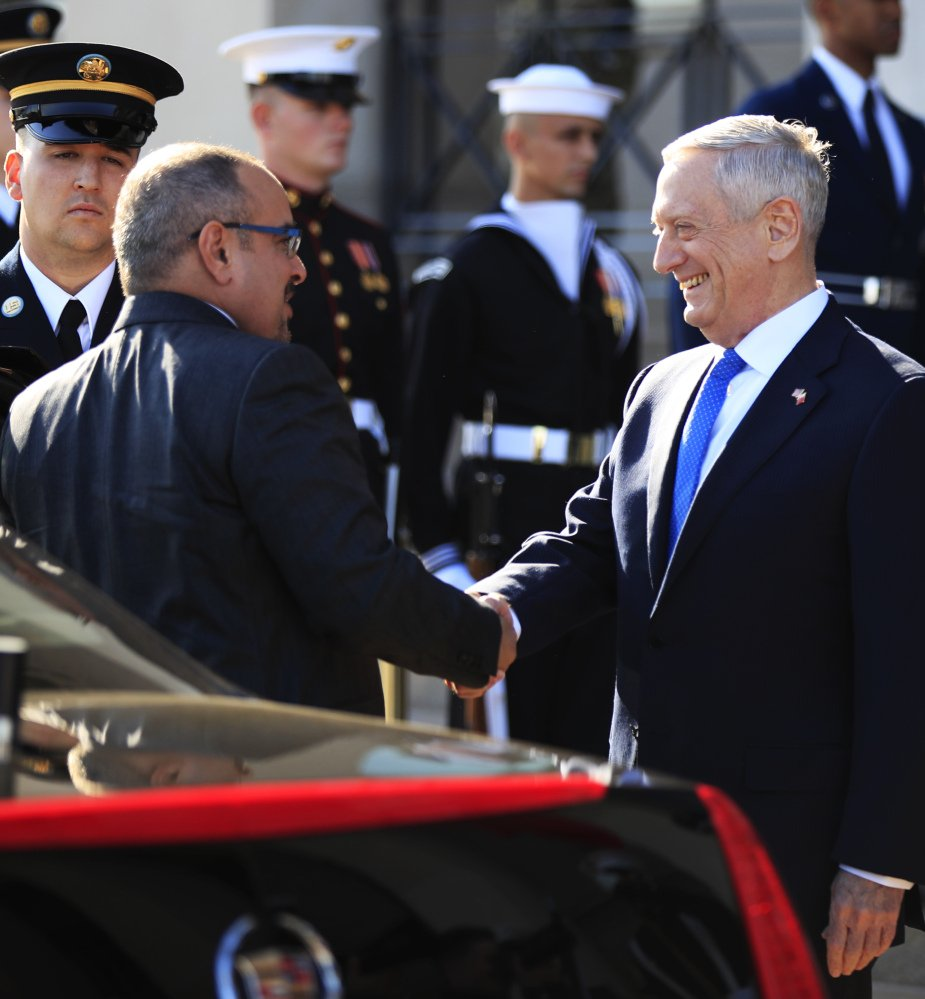 Secretary of Defense Jim Mattis, right, greets Bahrain's Crown Prince Salman bin Hamad Al Khalifa during a welcoming ceremony at the Pentagon on Wednesday.