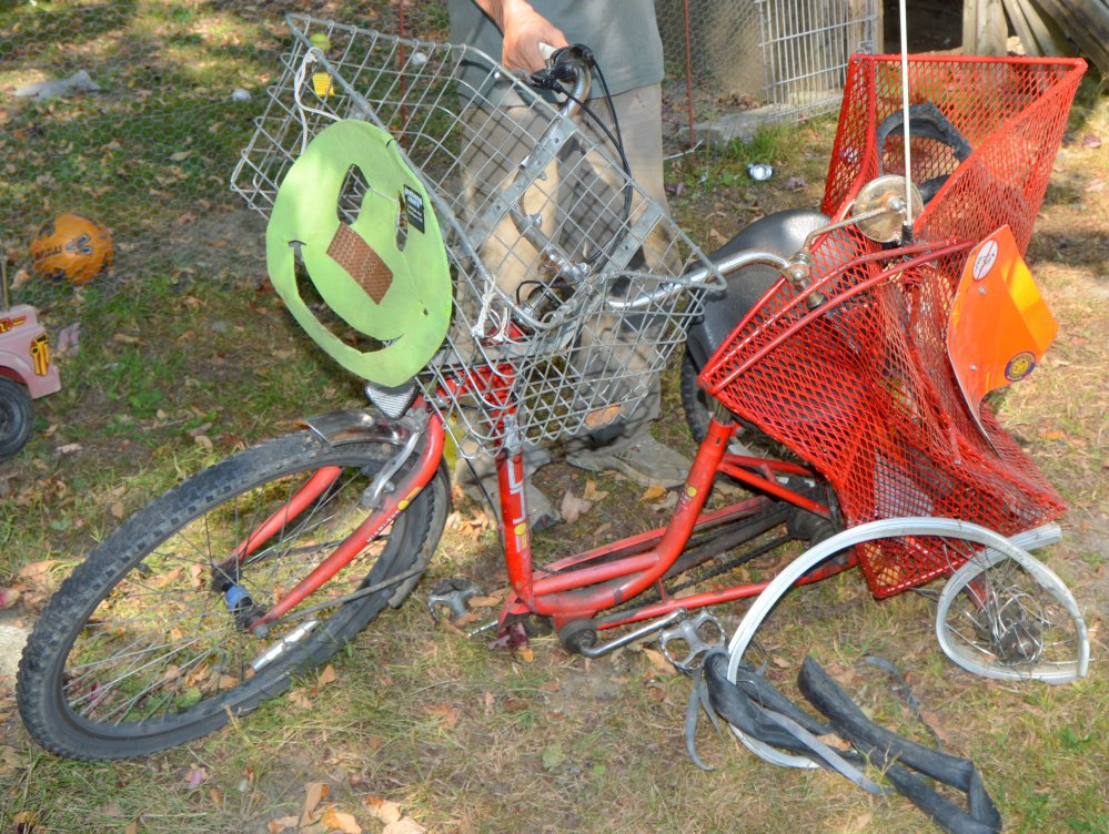 This mangled tricycle was struck by a vehicle on Zion Hill Road in Chesterville in September.