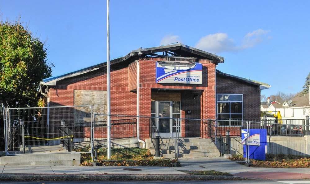 This Friday photo shows the post office in Winthrop, which was destroyed by fire earlier this year.