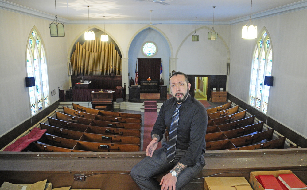David Boucher talks about his plans to use a former church as a tasting room for Lost Orchard Brewery during a tour on April 30, 2015 in Gardiner. The church is set to be sold at public auction Dec. 20.