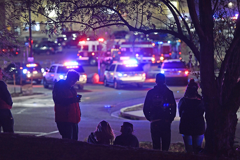 Dozens of police cruisers and emergency vehicles converged at the scene of the shooting in Thornton, Colorado, Wednesday night.