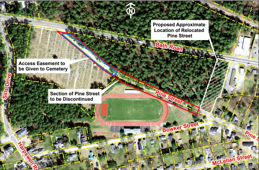 A plan spearheaded by Bowdoin College could see the discontinuance of Pine Street in order to accommodate a 9,000 square foot athletic facility.