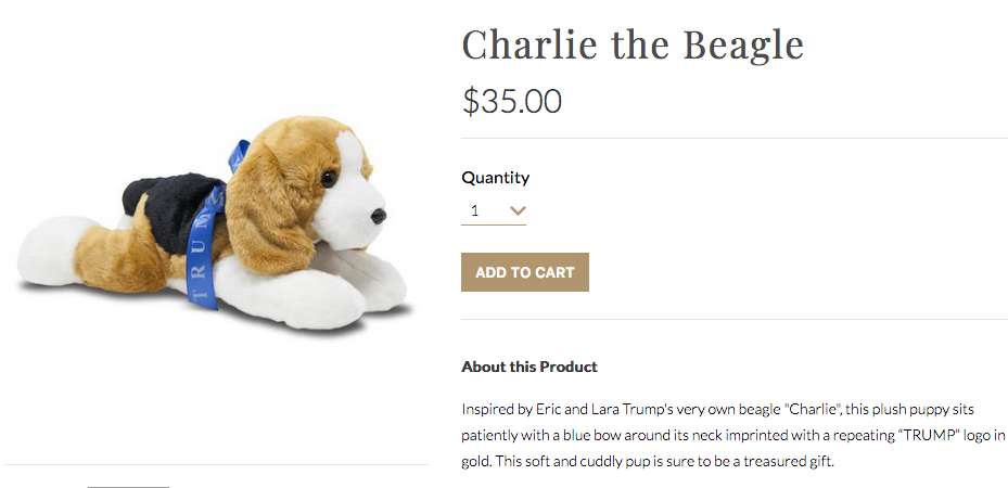 "A screenshot from the TrumpStore.com website shows ""Buddy the Beagle,"" selling for $35 and described as ""decorated in the USA."""
