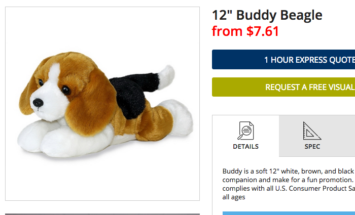 A screenshot from EverythingBranded.com, an online wholesaler, shows a similar stuffed dog toy available for $7.61.