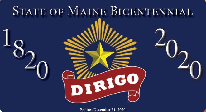 Maine's bicentennial license plate depicts a radiant, five-pointed star and a Dirigo banner.